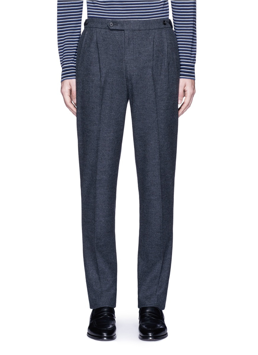 Camoshita Double Pleated Side Adjuster Wool Pants In Gray