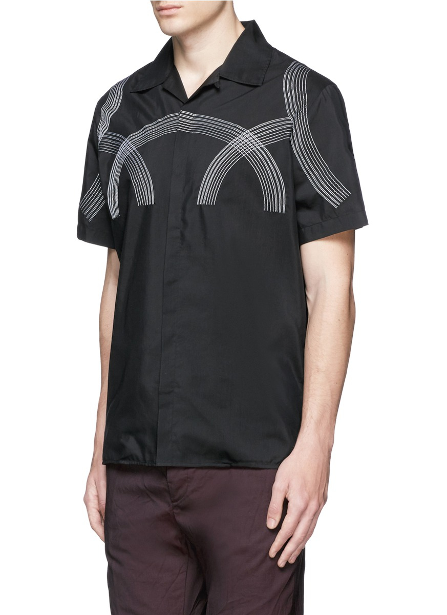 Lanvin Curve Embroidery Cotton-silk Shirt in Black for Men ...