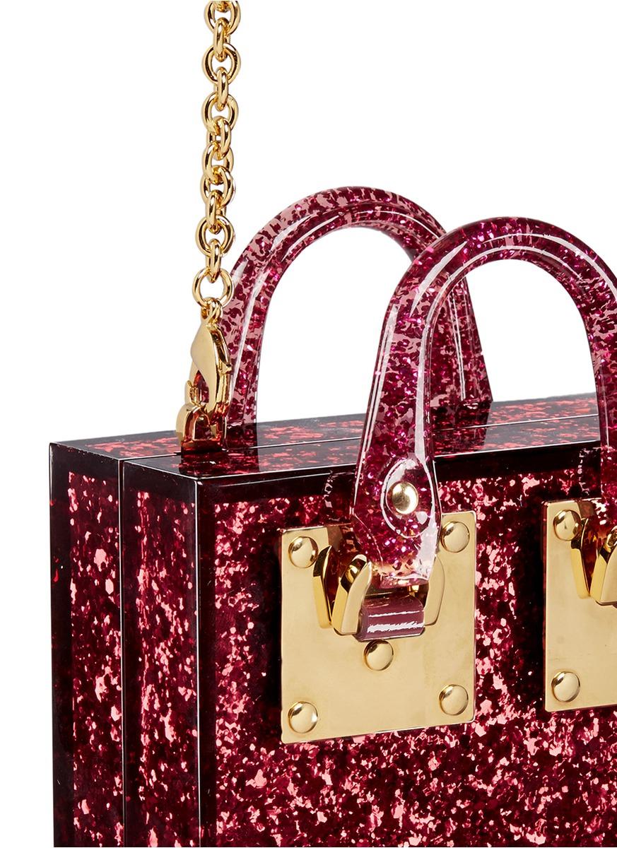 Sophie Hulme Suede 'compton' Inset Glitter Perspex Crossbody Bag in Silver (Purple)