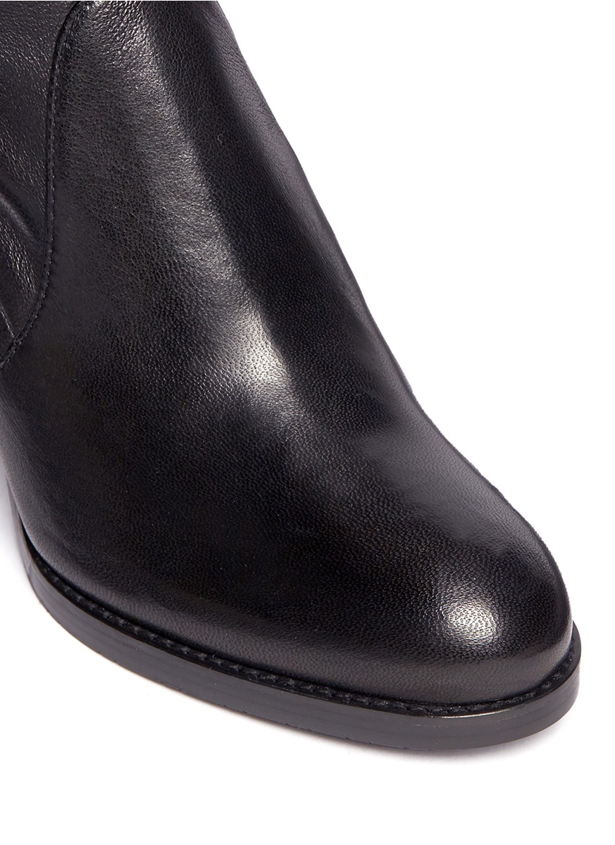 Stuart Weitzman Calare Stretch-Leather Ankle Boots in Black