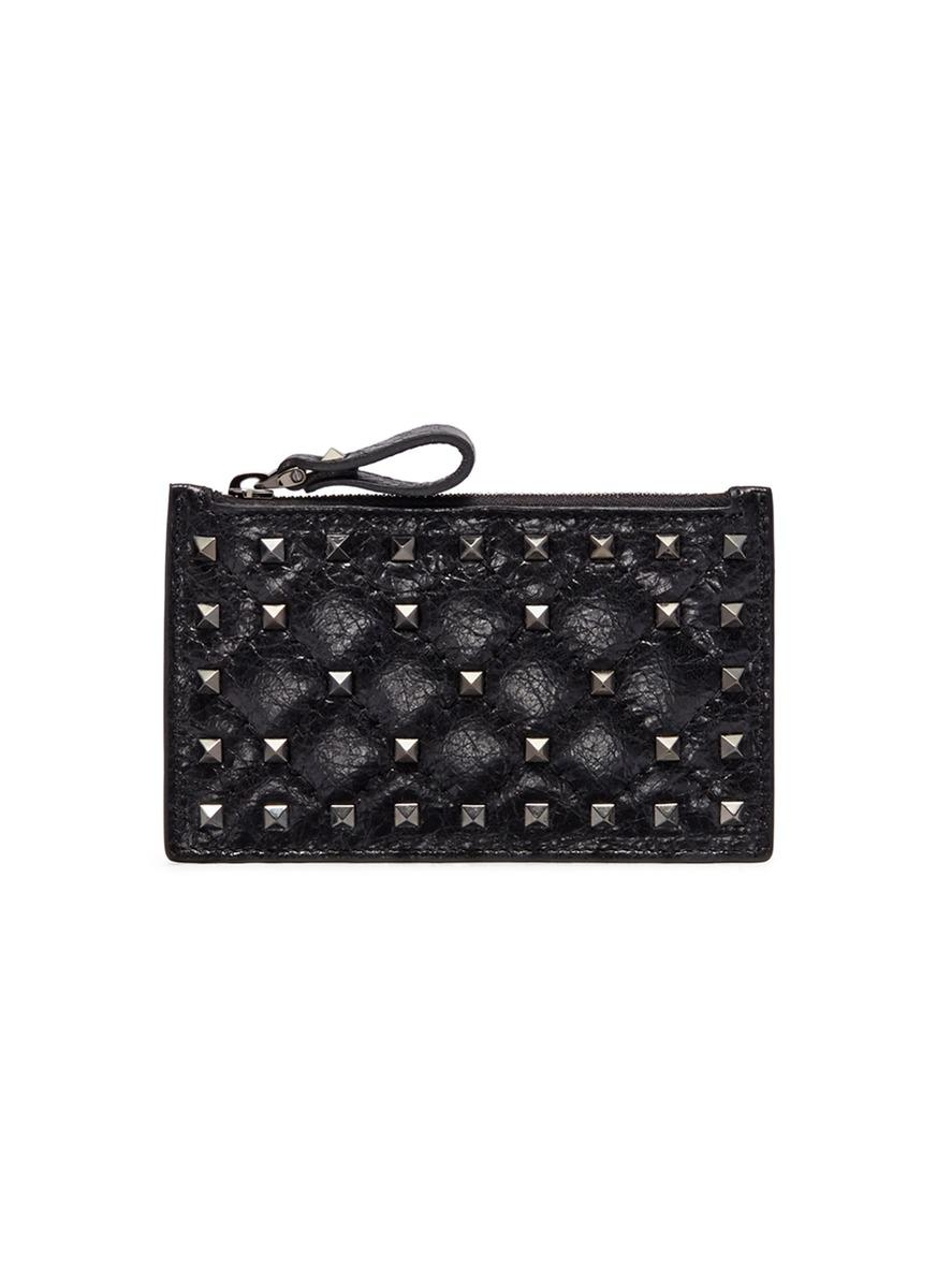 Valentino Garavani The Rockstud Quilted Leather Cardholder - Black Valentino Sale Sale Online LSE4y