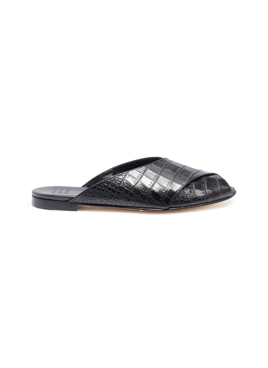 Pajama Croc-effect Leather Sandals - Black Trademark New Lower Prices Cheap Sale From China Classic Online Outlet Visa Payment Cheap Limited Edition dWXcjhP0al