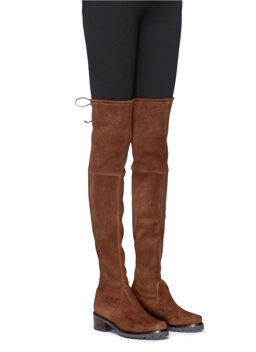 Stuart Weitzman 'van Land' Stretch Suede Thigh High Boots in Walnut (Brown)