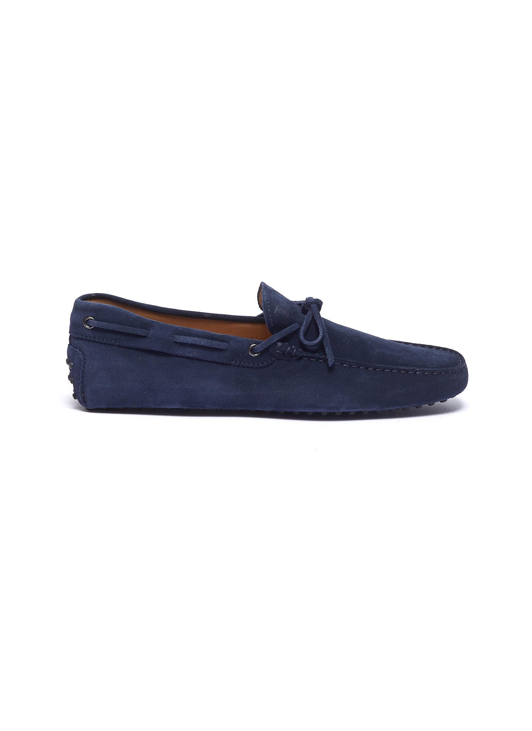 e48f4831738e Tod s  gommino  Tie Suede Driving Shoes in Blue for Men - Lyst