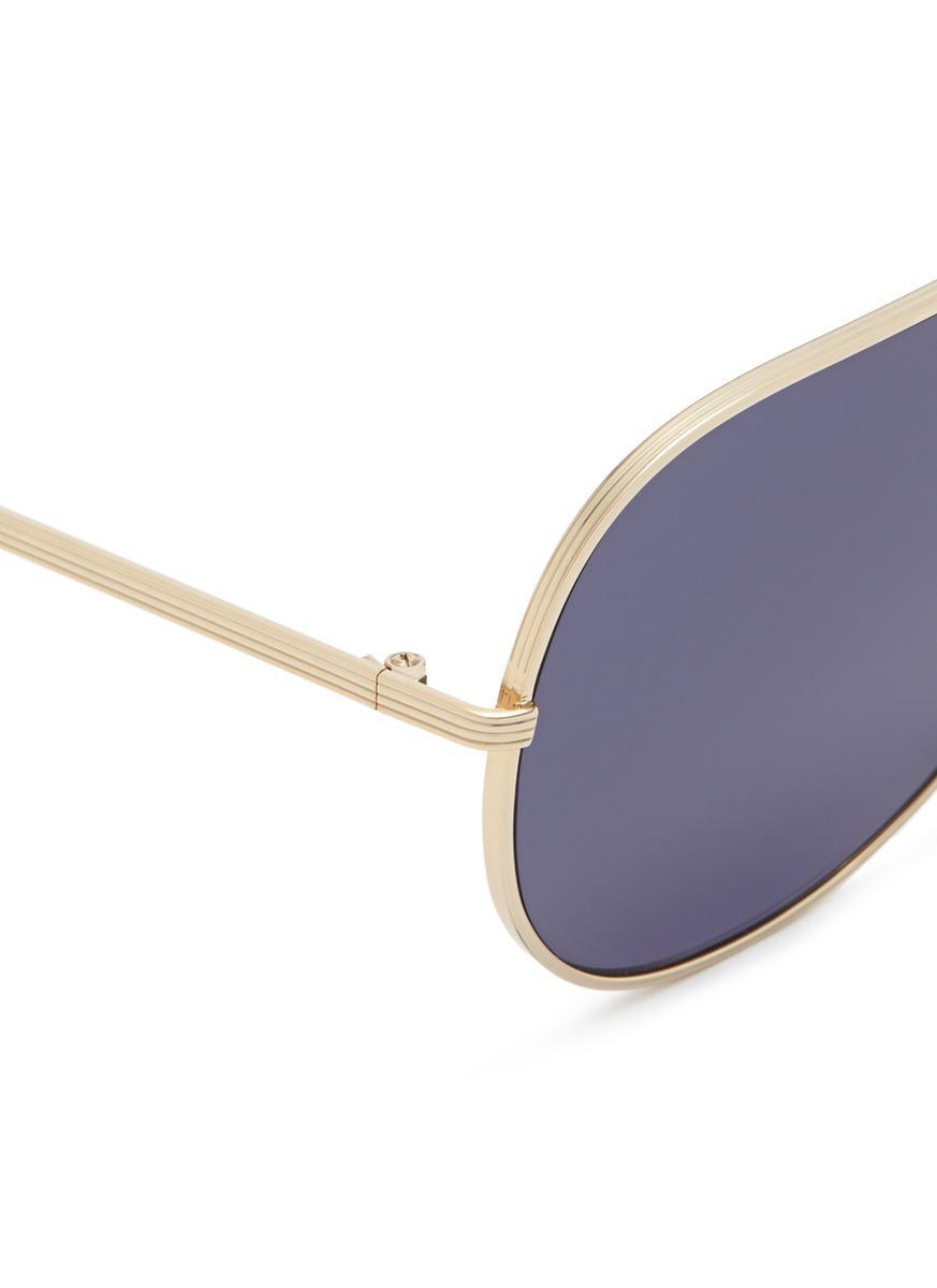 Victoria Beckham 'grooved Metal Visor' Aviator Sunglasses in Metallic
