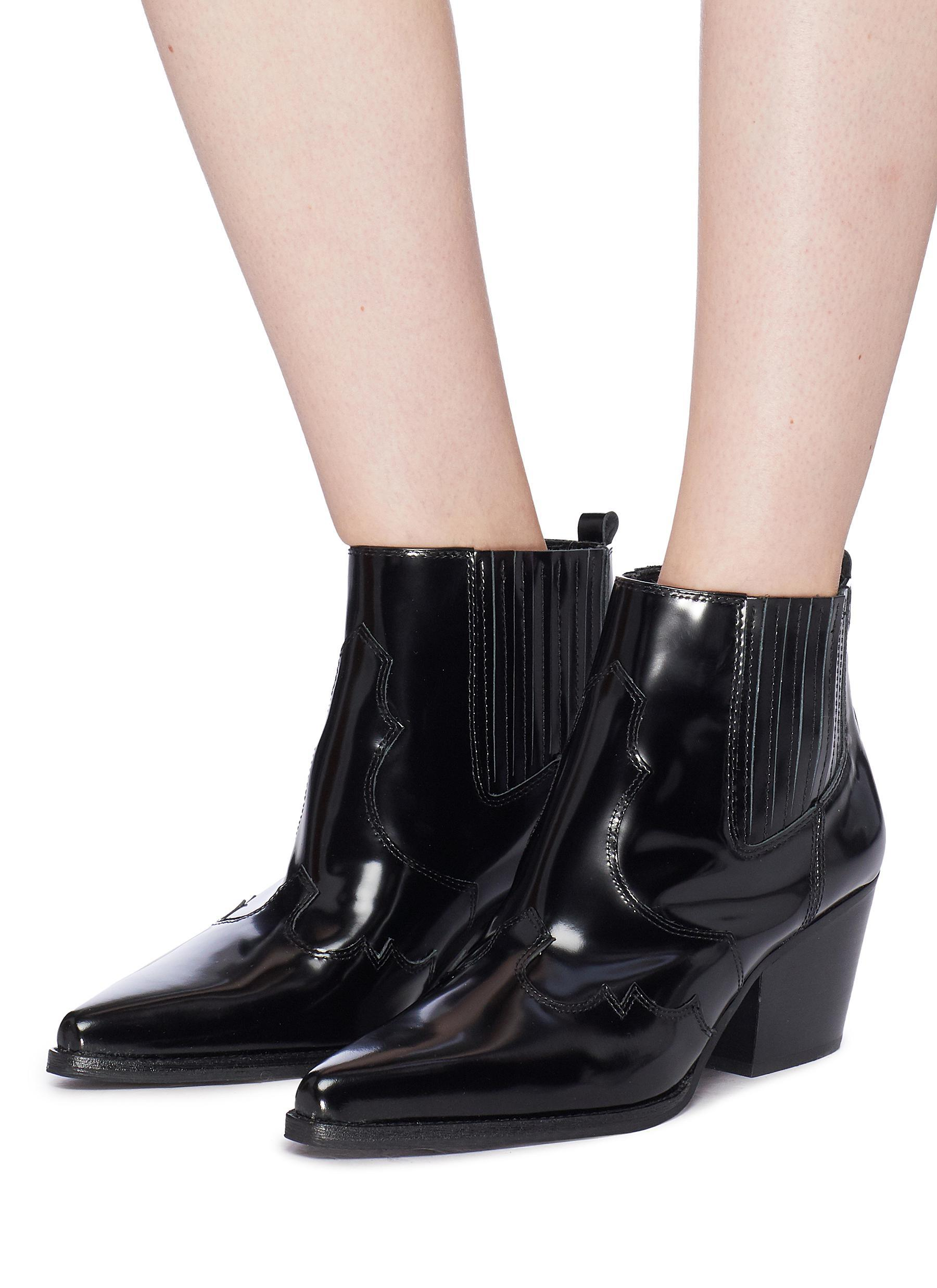 6bd73a643 Sam Edelman 'winona' Patent Leather Panelled Ankle Boots in Black - Lyst
