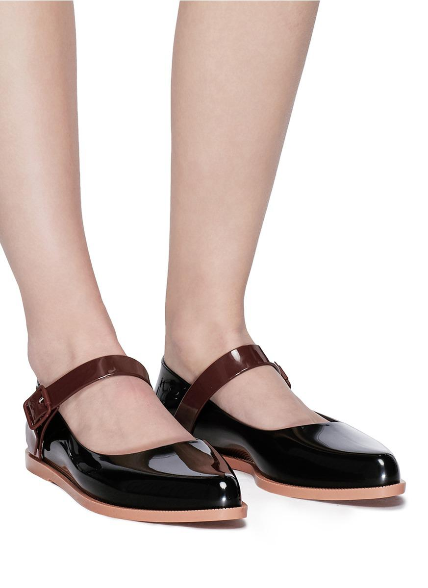 Melissa Pvc Mary Jane Flats In Black Lyst