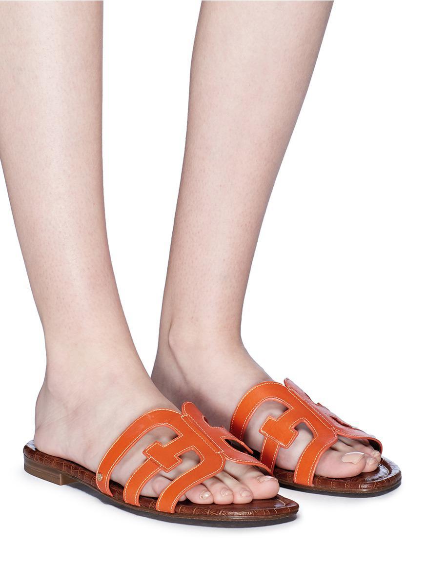 a7d9c59c8e66 Sam Edelman  bay  Leather Slide Sandals in Orange - Lyst