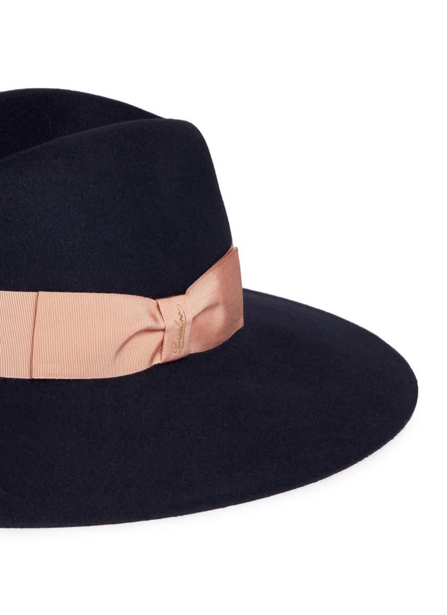 37b8bfd58dc Borsalino  alessandria  Wide Brim Rabbit Furfelt Fedora Hat in Gray ...