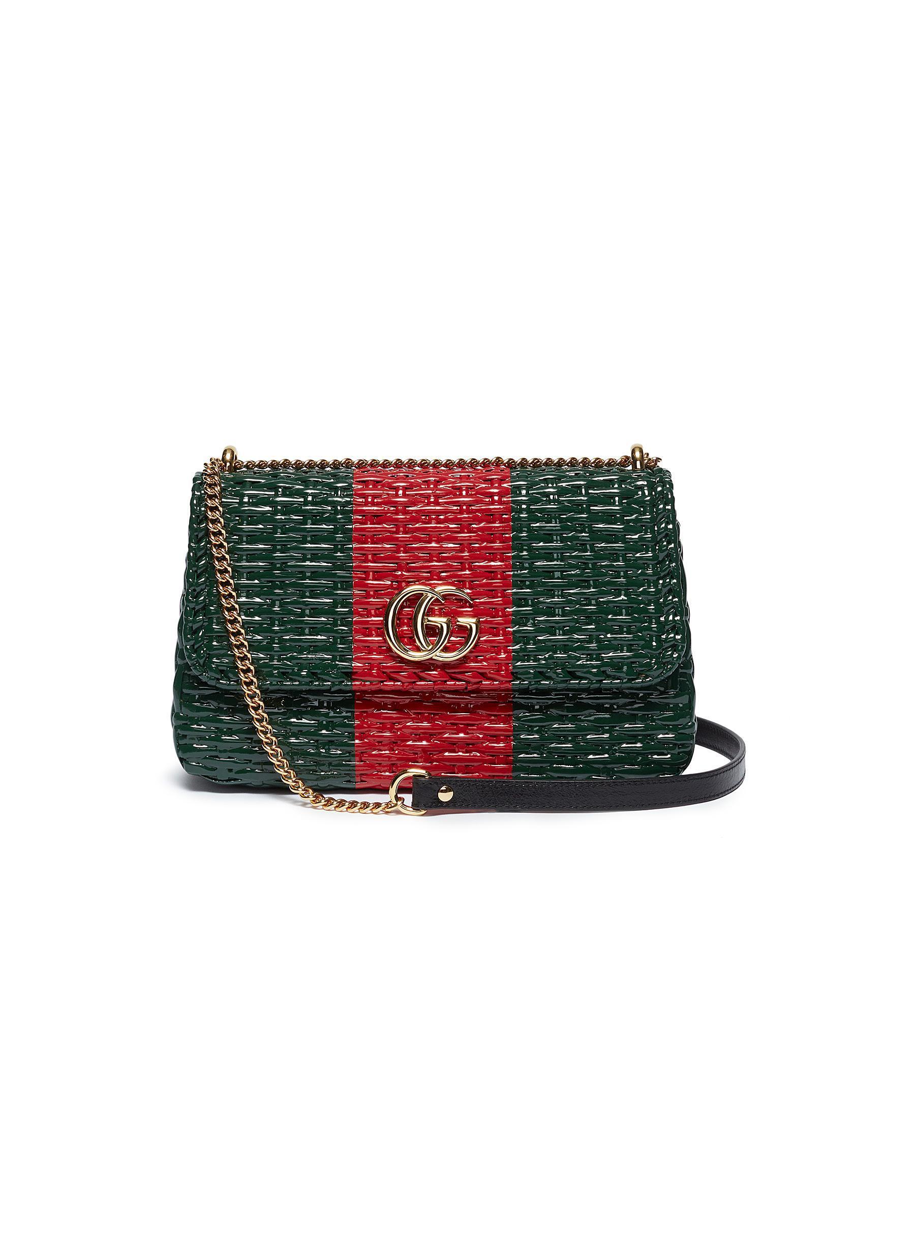 42fa83284cc6 Gucci 'cestino' Web Stripe Woven Wicker Small Crossbody Bag - Lyst