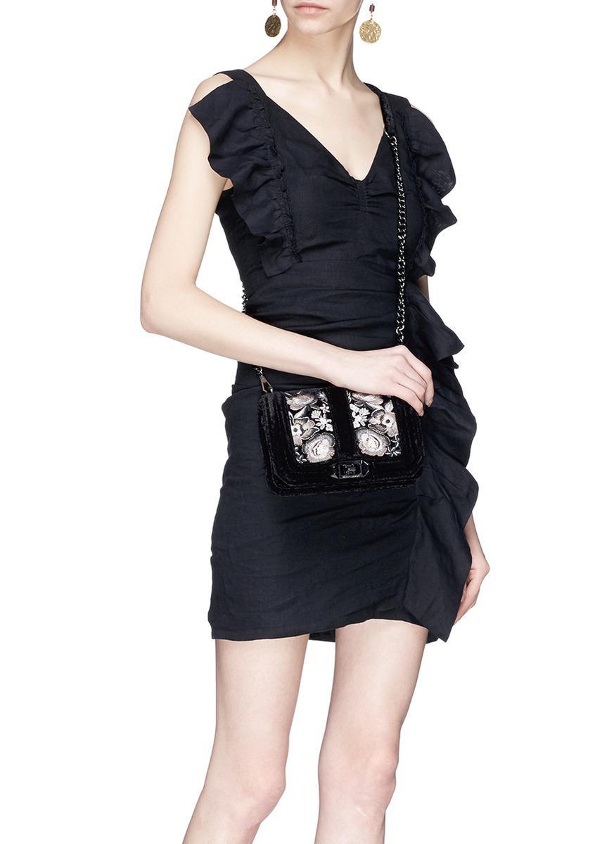 Rebecca Minkoff Velvet 'love' Small Embroidered Floral Crossbody Bag in Black