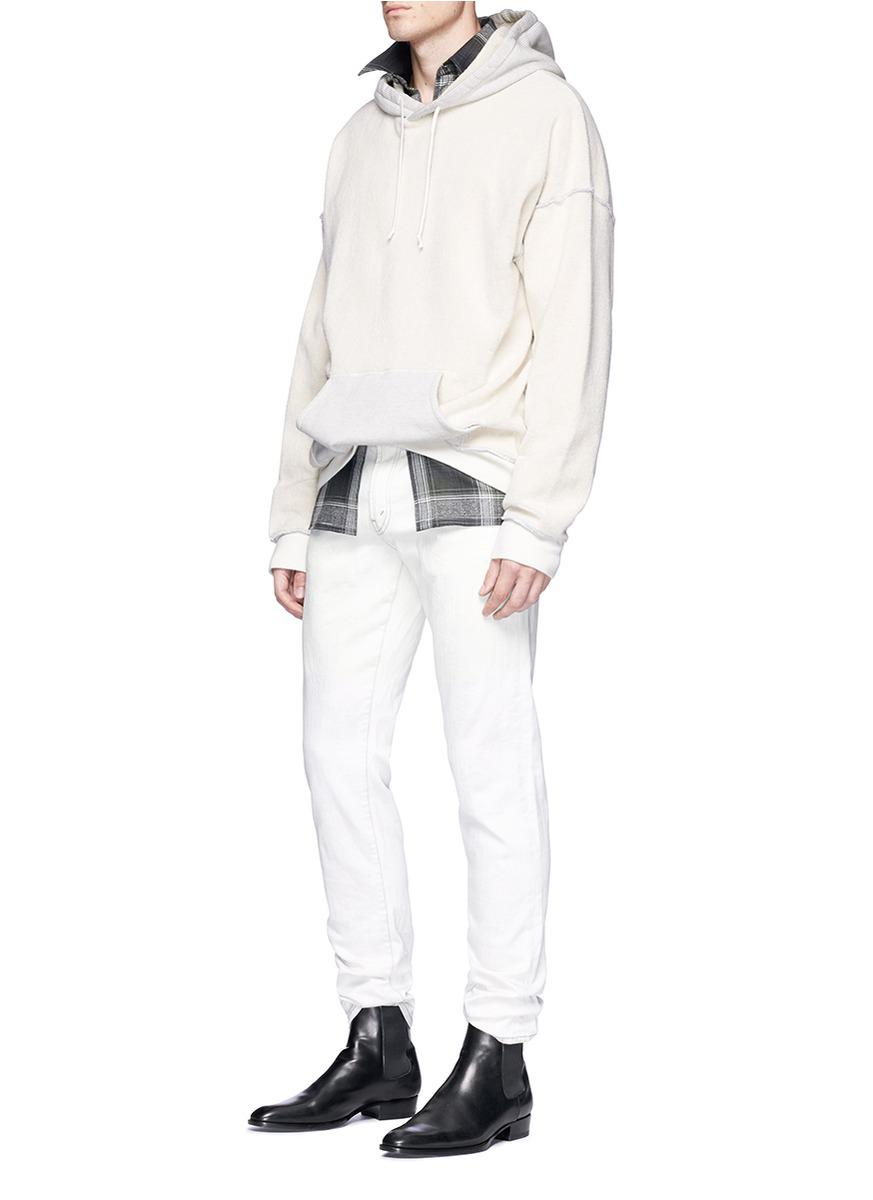 Maison Margiela Cotton Reverse French Terry Hoodie in White for Men