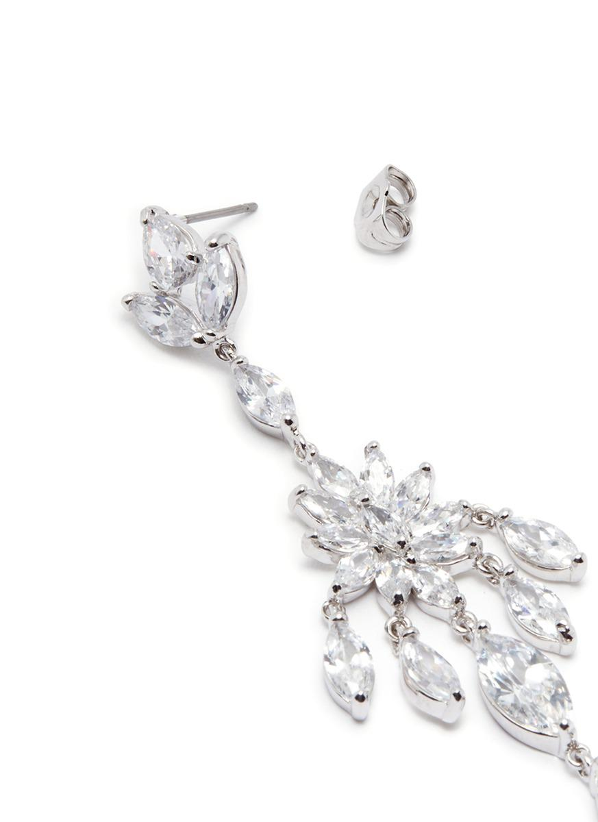 Lyst cz by kenneth jay lane floral cubic zirconia chandelier cubic zirconia chandelier earrings lyst view fullscreen arubaitofo Choice Image