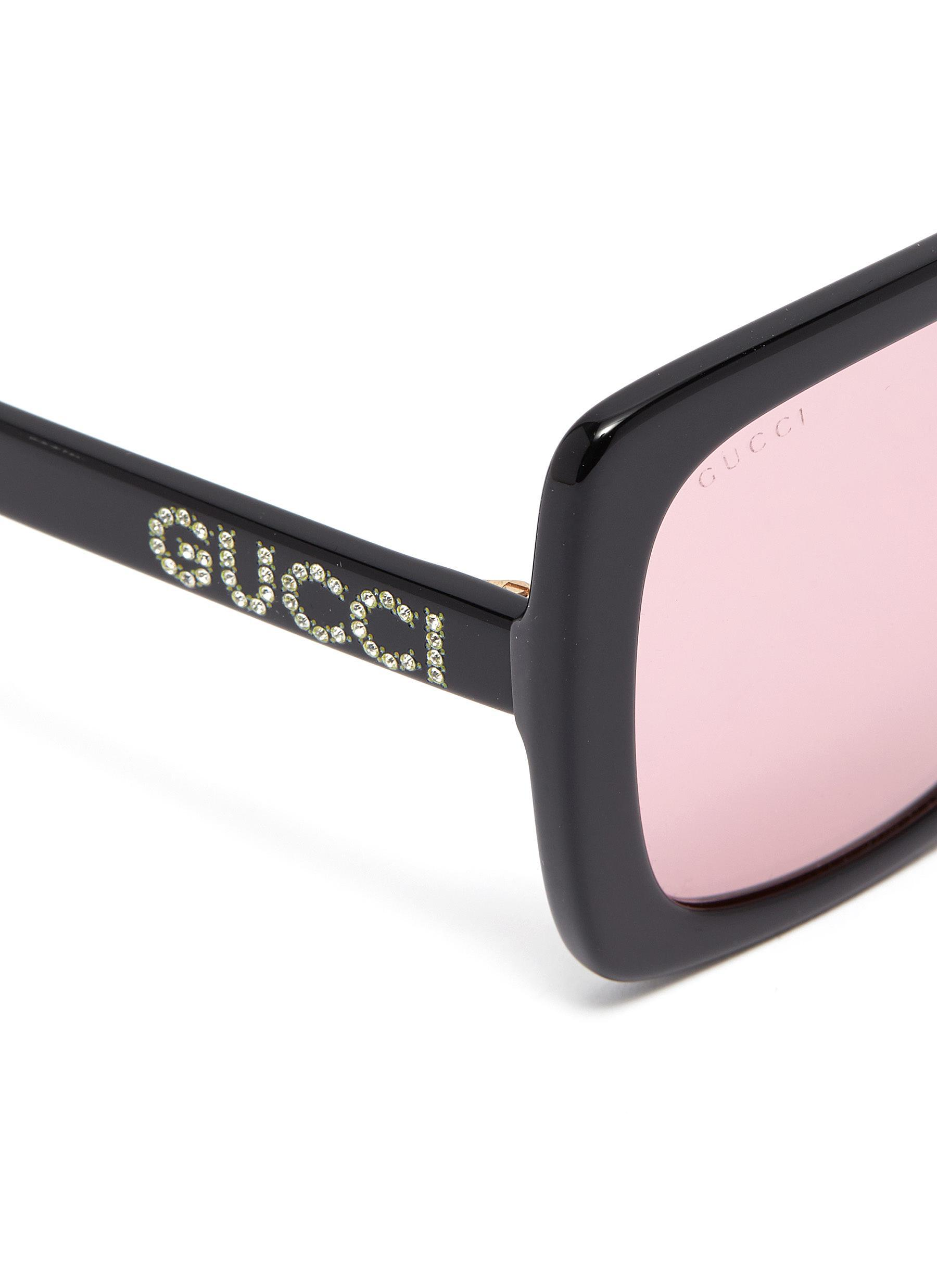 af77f04fb3 Women's Black Glass Crystal Logo Acetate Square Sunglasses