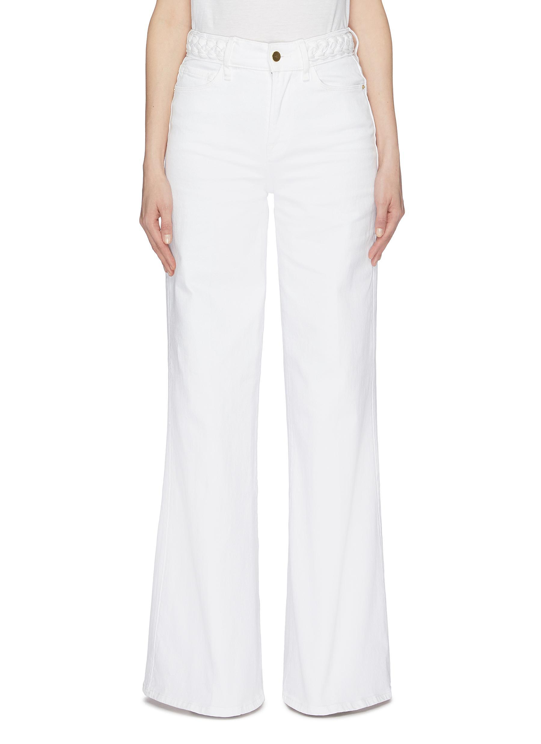 Frame Denim Le Palazzo Braid Waist Wide Leg Jeans Blanc NWT $275