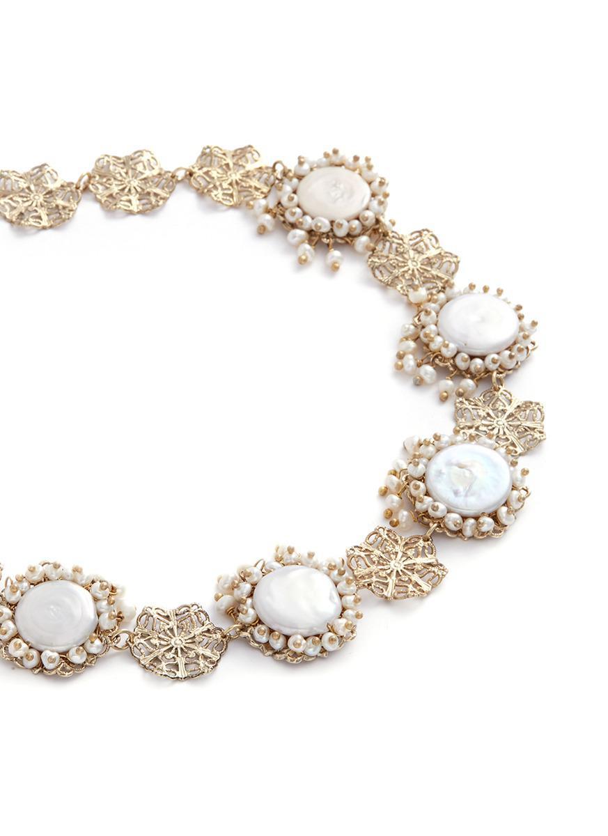 Rosantica 'corte Filgrees' Faux Pearl Floral Cutout Necklace in Metallic