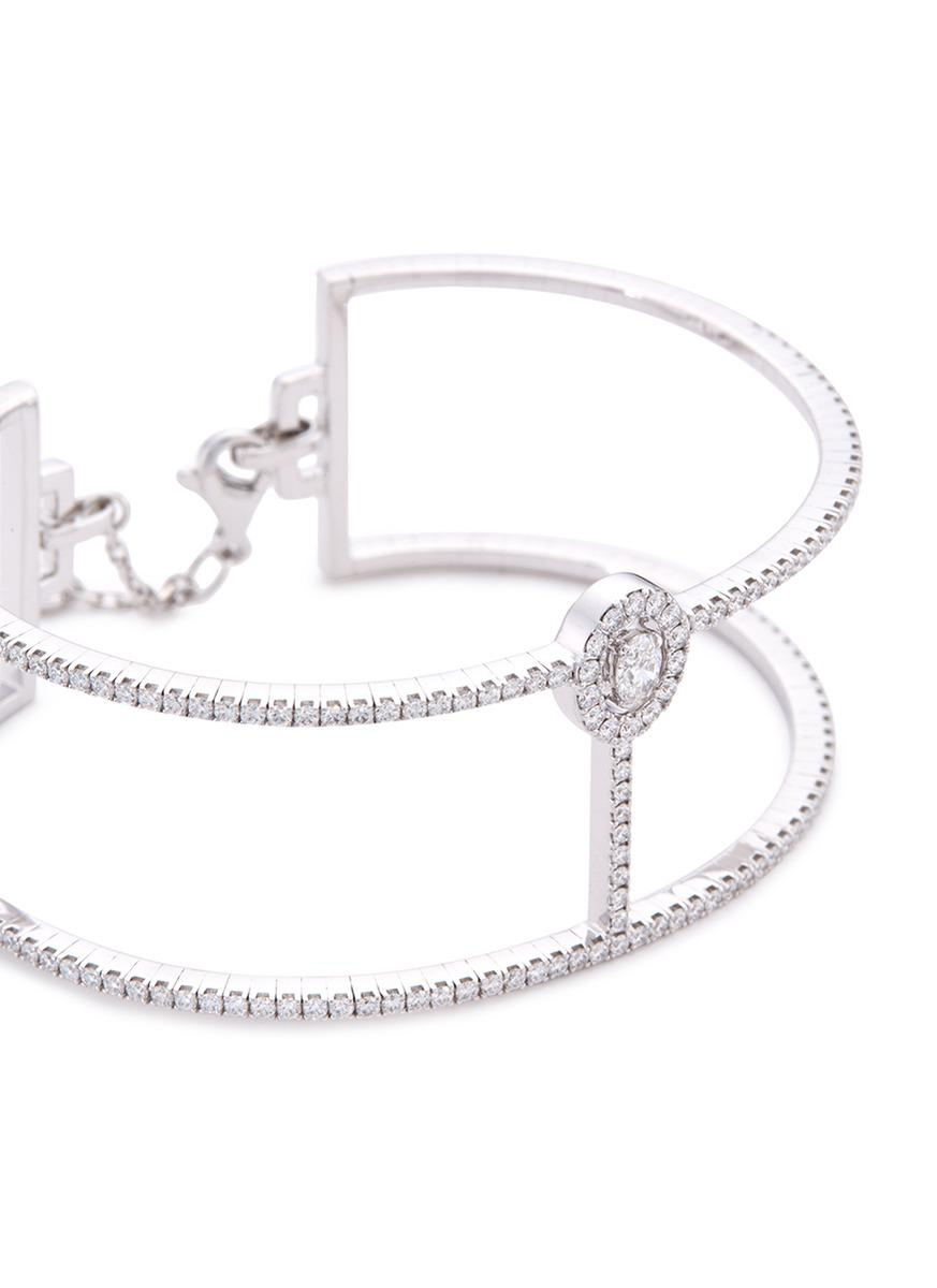 Messika 'glam'azone Skinny 2 Row' Diamond 18k White Gold Bangle in Metallic