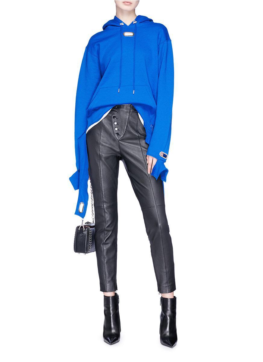 Collina Strada Cotton Grommet Cuff Hoodie in Blue