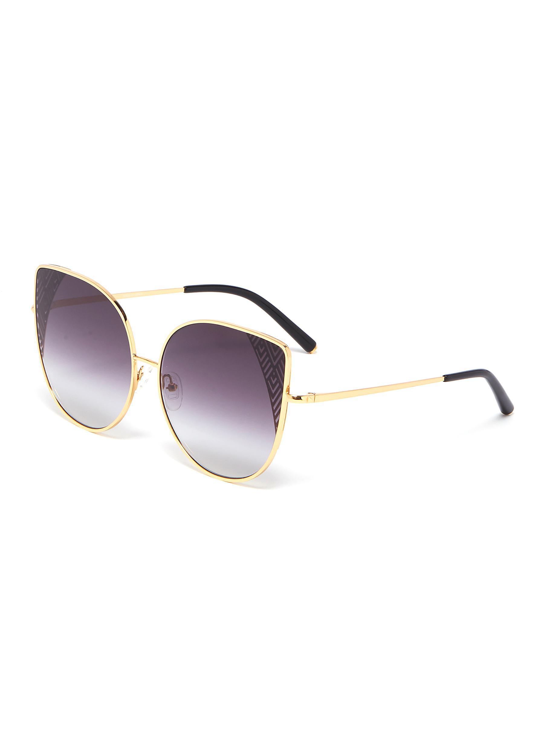 d697b767d Matthew Williamson. Women's Purple Cutout Corner Metal Oversized Cat Eye  Sunglasses
