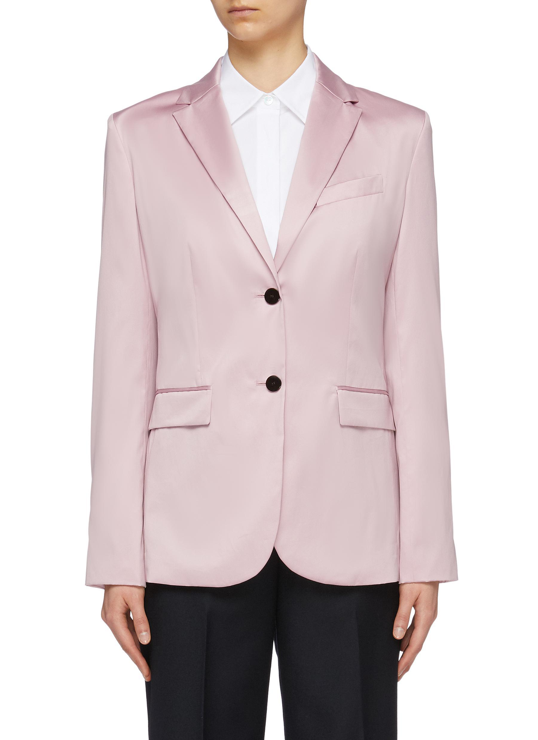 101ced8512 Theory 'classic' Notched Lapel Cotton Chintz Blazer in Pink - Lyst