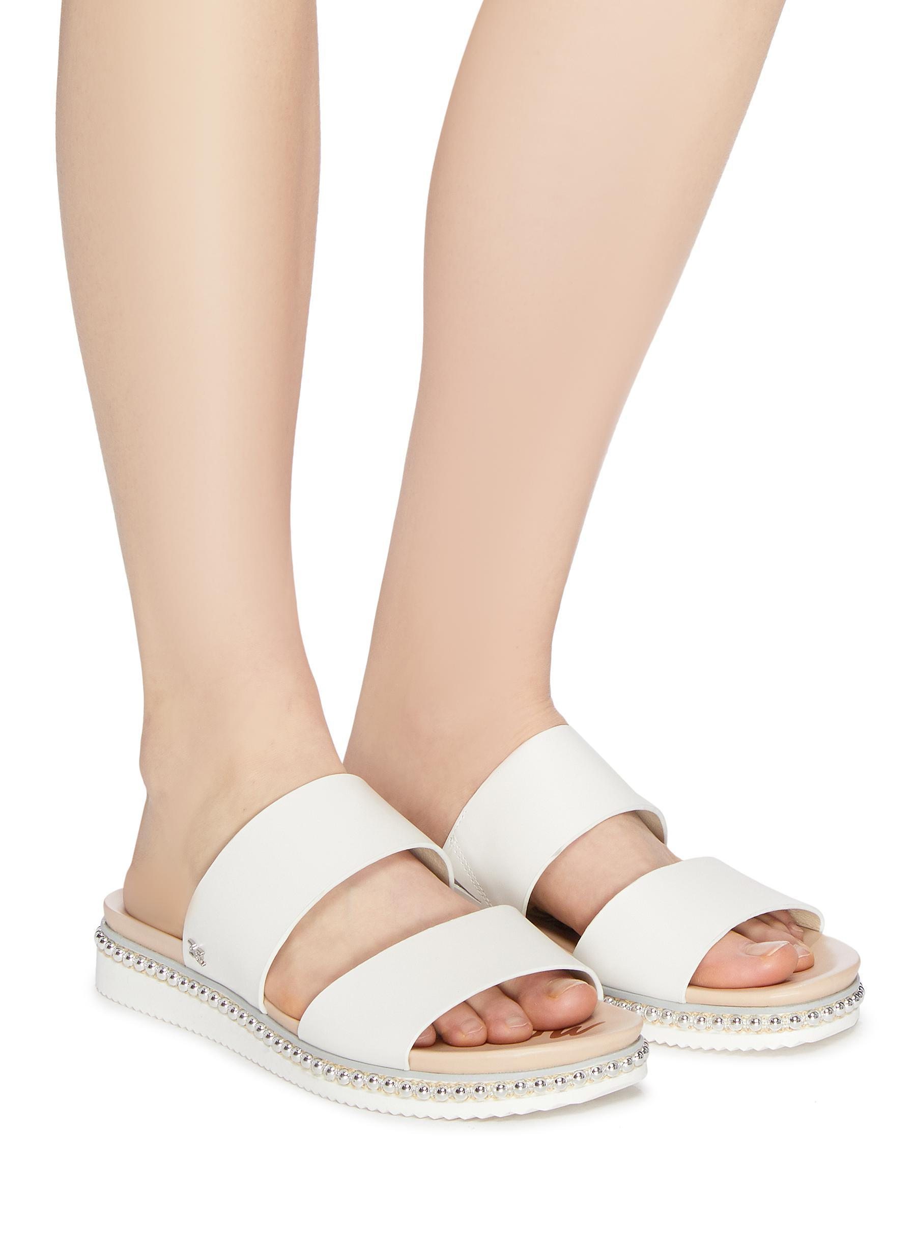 de739d4c7 Sam Edelman White 'asha' Stud Welt Leather Slide Sandals. View fullscreen
