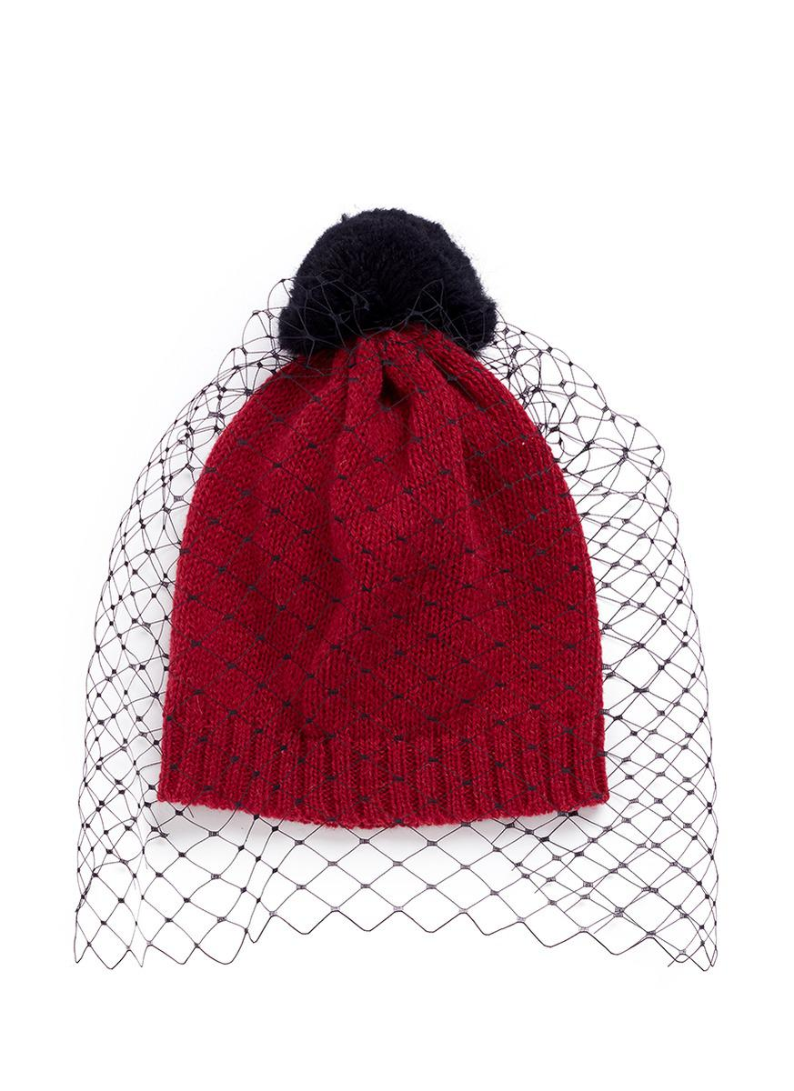 39728a54e44c6 Bernstock Speirs Pompom Veil Wool Beanie in Red - Lyst