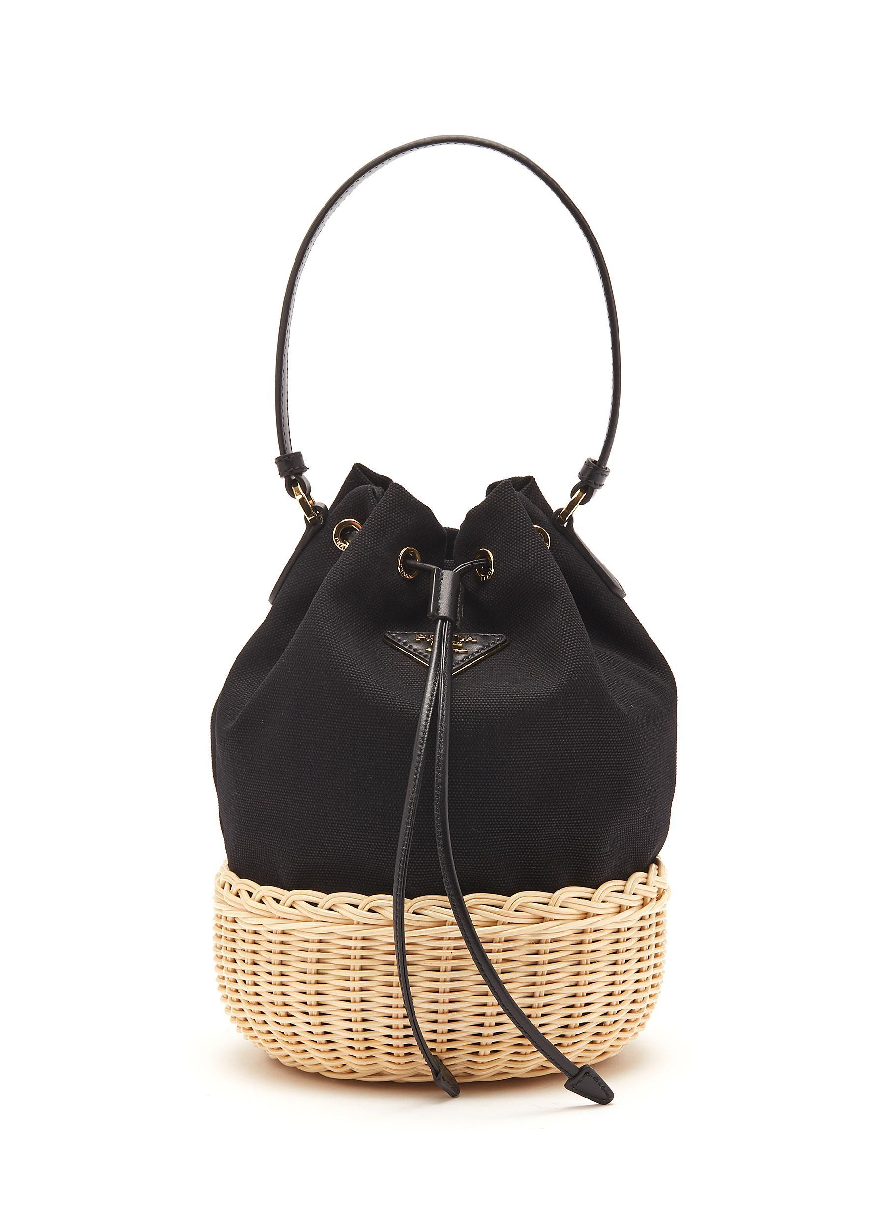 3b0adf94d3f5 Lyst - Prada Basketweave Panel Canvas Bucket Bag in Black for Men