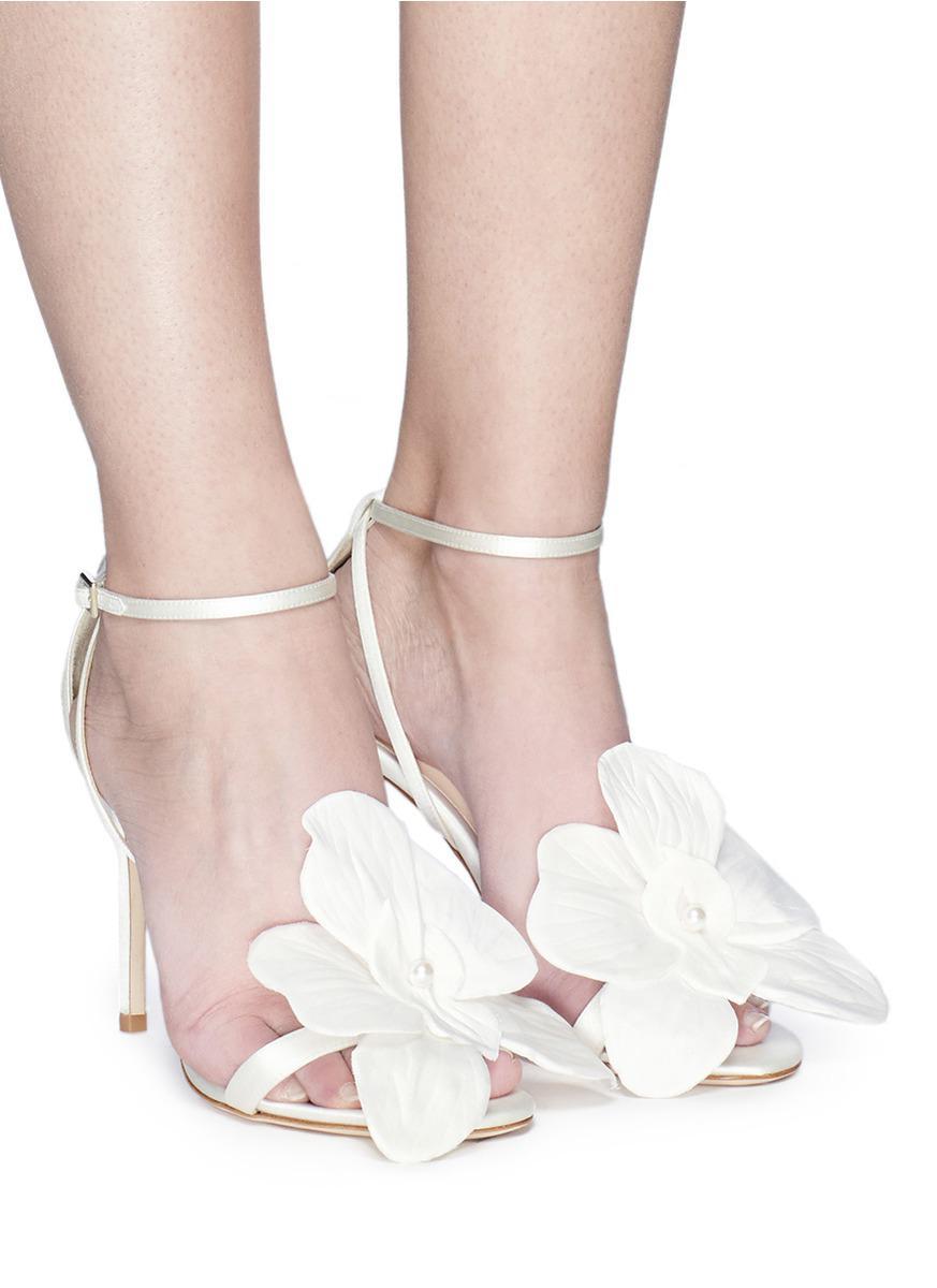 Orchid Appliqué Satin Sandals - Lyst