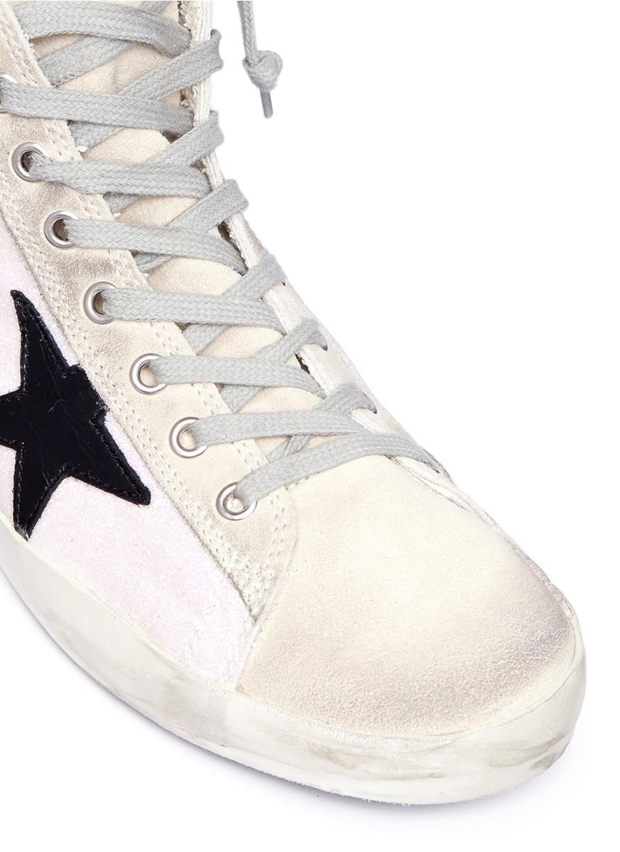Golden Goose Deluxe Brand 'francy' Glitter Coated Leather High Top Sneakers in White