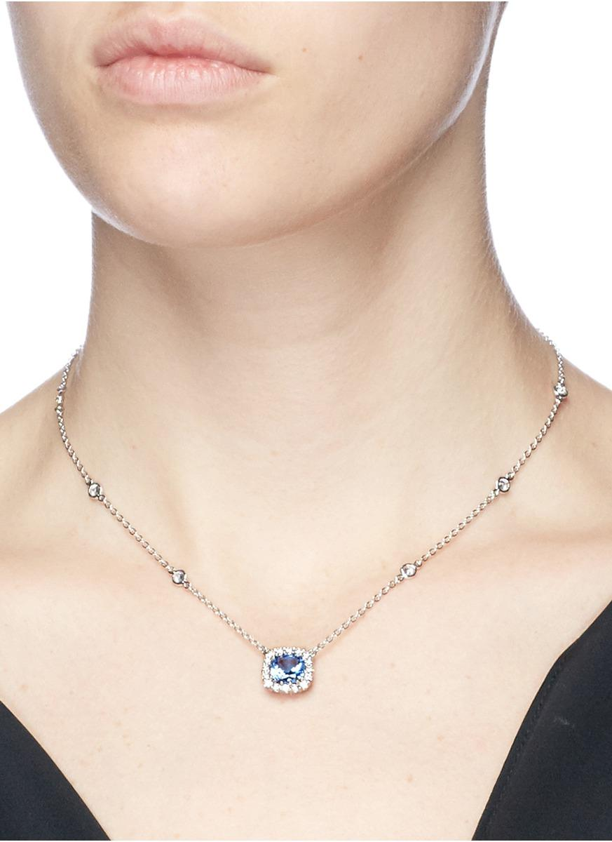 CZ by Kenneth Jay Lane Cushion Cut Cubic Zirconia Pendant Necklace