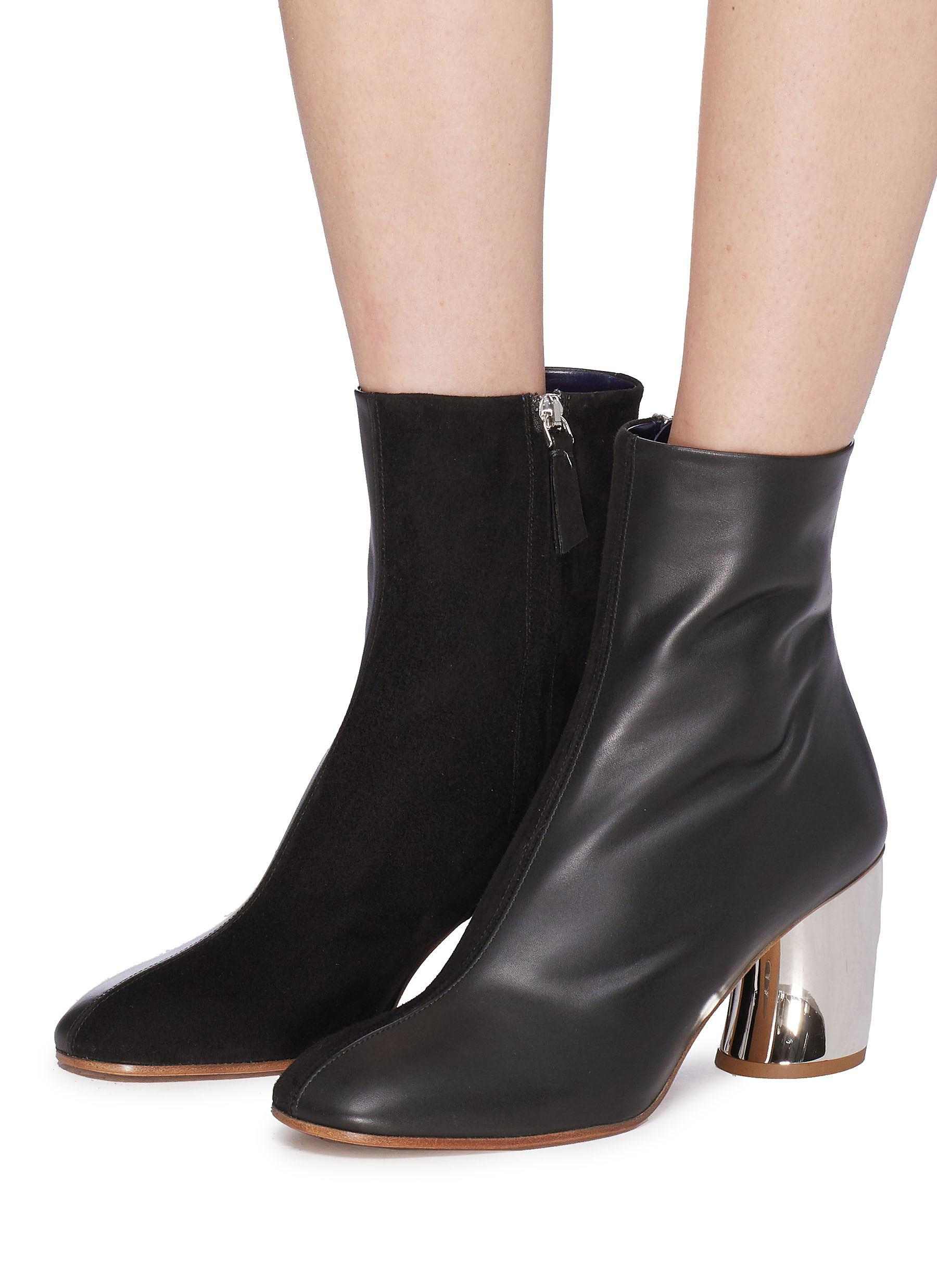 Proenza Schouler Curved Mirror Heel Leather And Suede Ankle Boots in Black