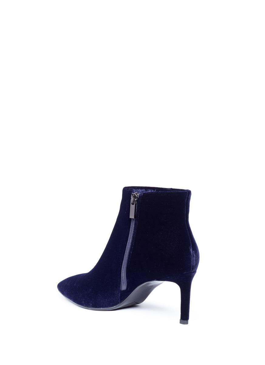 Pedder Red Velvet Ankle Boots in Blue