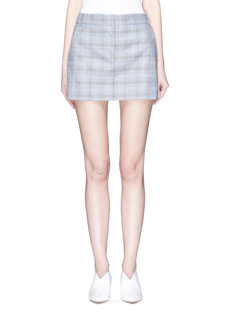 fa3ca48e1c Tibi 'cooper' Wool-silk Houndstooth Check Plaid Mini Skirt in Gray ...