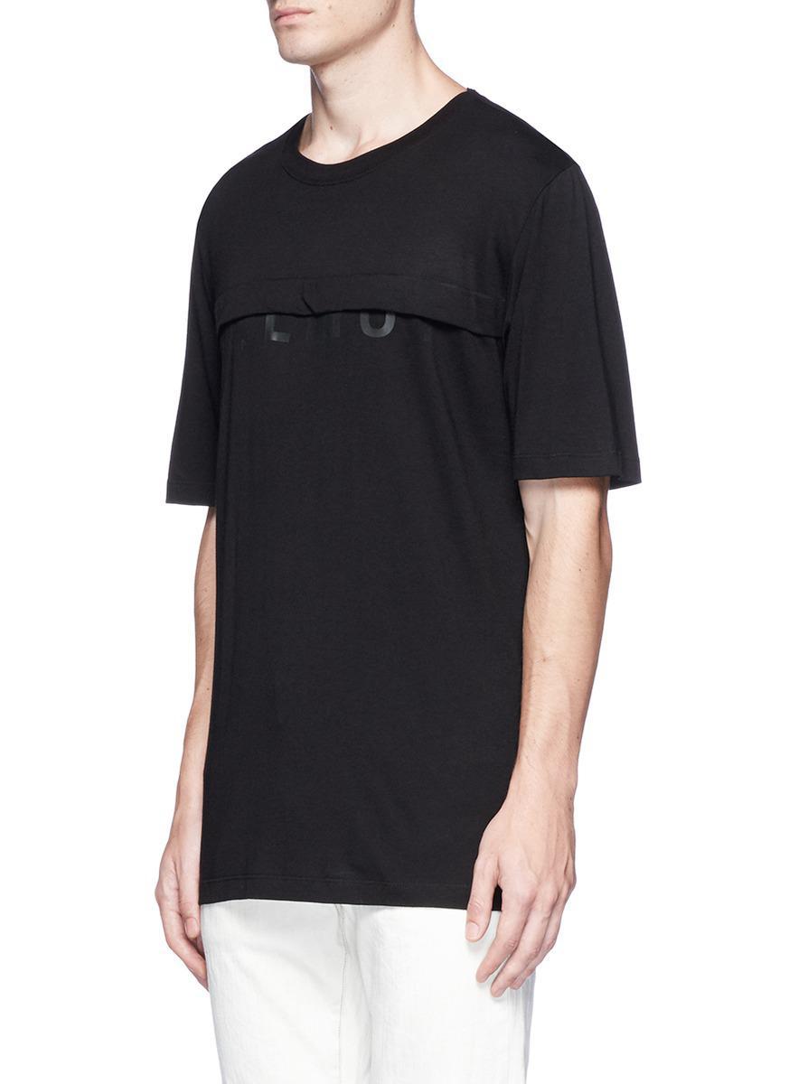 lyst helmut lang logo print layered t shirt in black for men. Black Bedroom Furniture Sets. Home Design Ideas