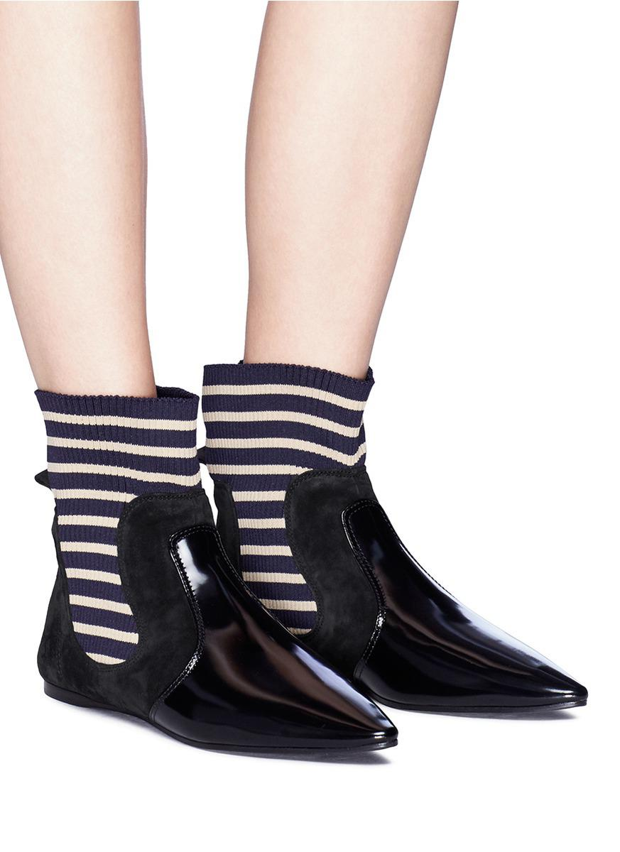 Acne Studios 'amalee' Rib Knit Panel Suede Ankle Boots in Blue