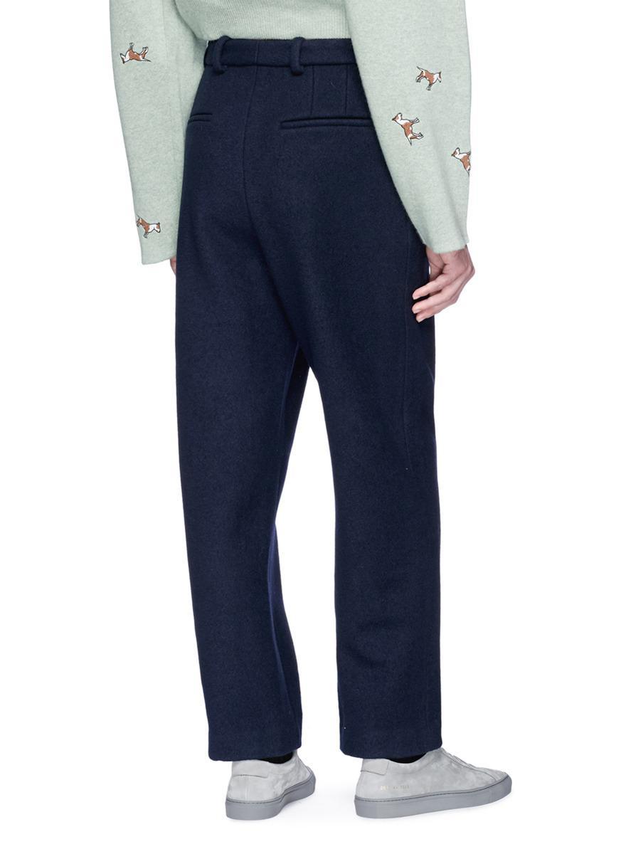 Acne Studios 'ariia Boucle' Wool Melton Pants in Blue for Men