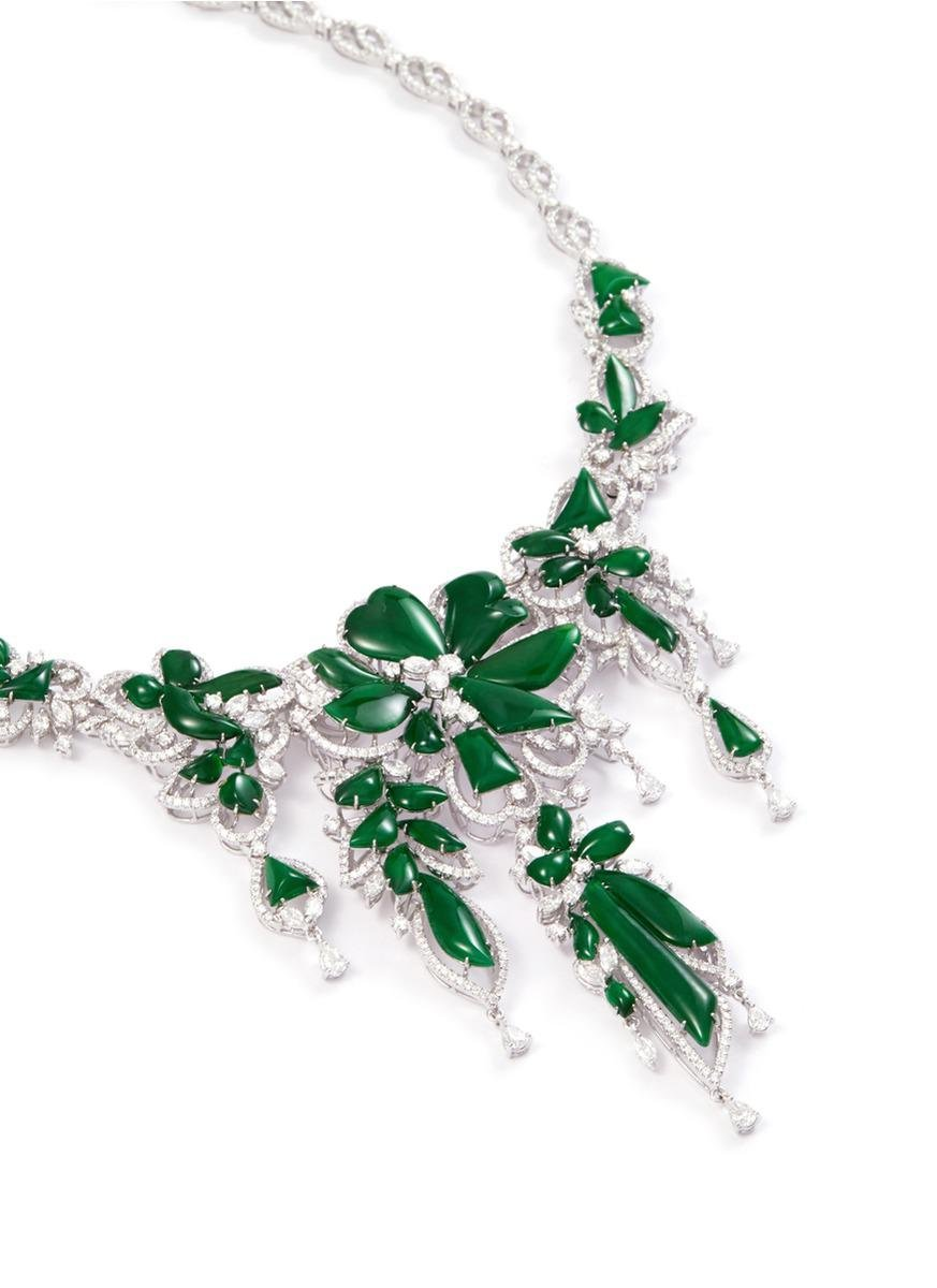 LC COLLECTION Diamond Jade 18k Gold Floral Necklace in Metallic