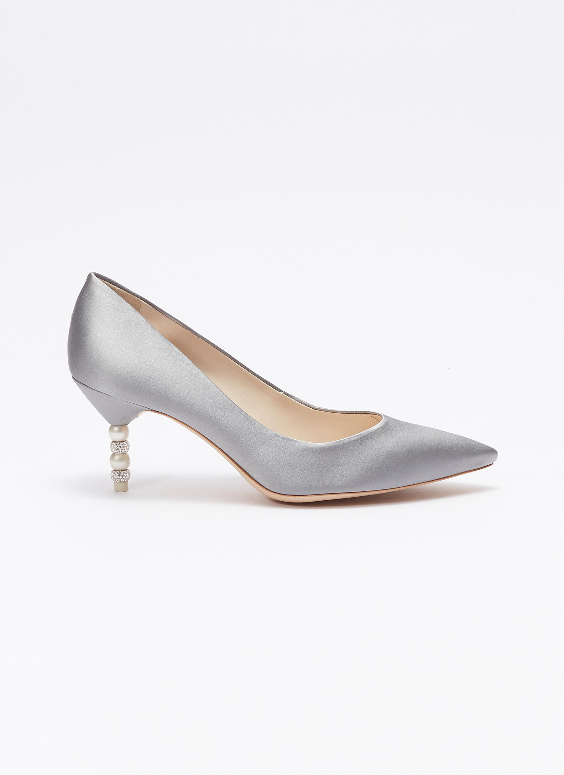 48130c517a6 Lyst - Sophia Webster  coco  Crystal Pavé Bead Heel Satin Pumps in Gray