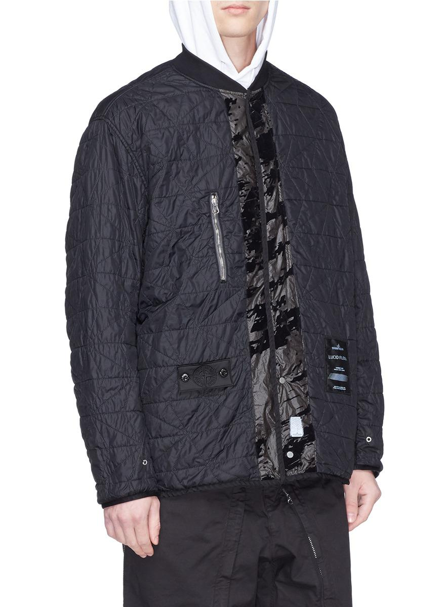 bb83822a0 Stone Island Black Abstract Print Padded Lucid Flock Bomber Jacket for men