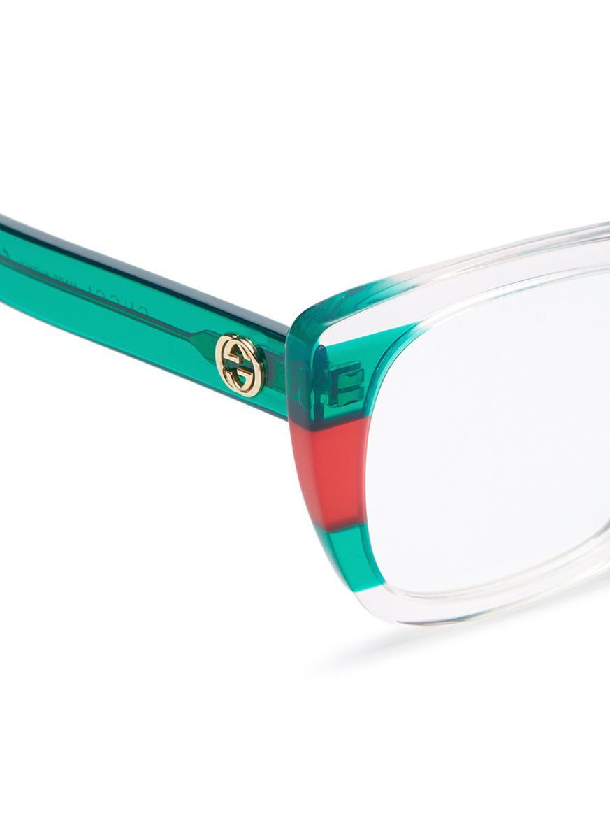 d5dd278b530 Lyst - Gucci Web Stripe Acetate Square Optical Glasses