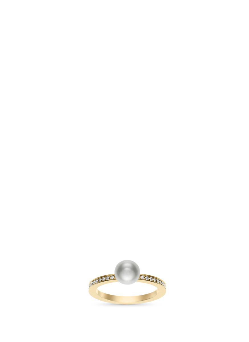 Sophie Bille Brahe Petite Lisa Pavé 14kt gold ring with pearl and diamonds mbuu2cLv
