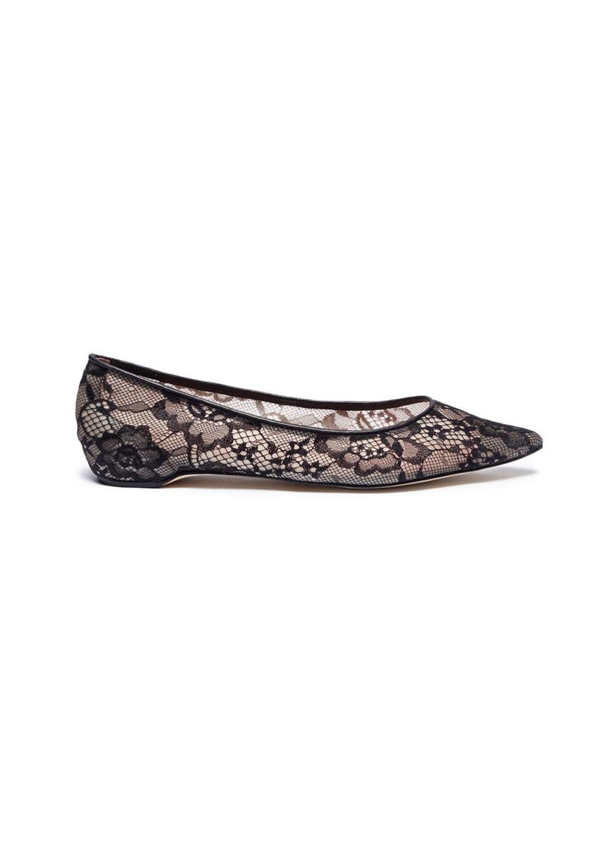1a8a809f5 Lyst - Pedder Red 'kala' Floral Guipure Lace Skimmer Flats in Black