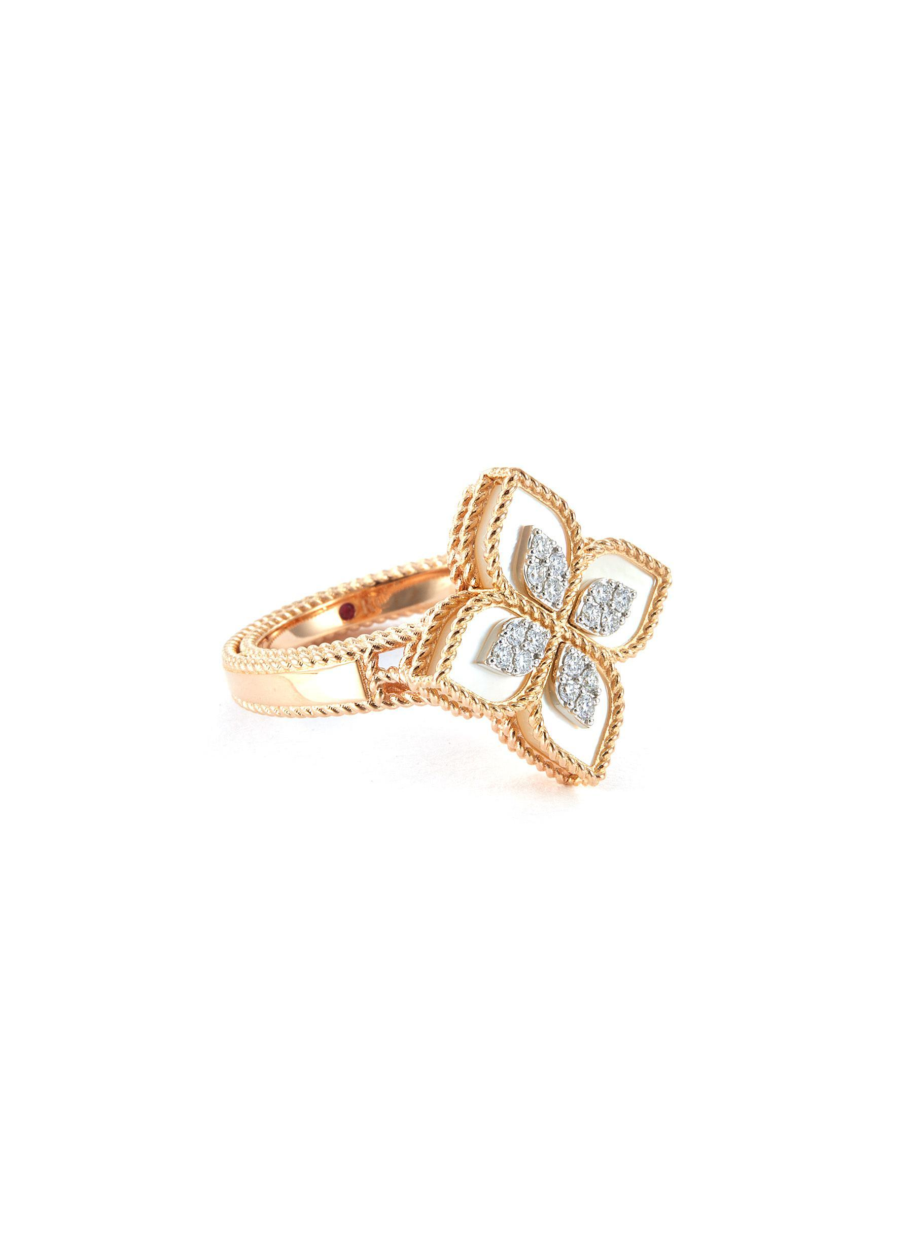 8d0589d318f Roberto Coin 'princess Flower' Diamond Mother-of-pearl 18k Rose Gold ...