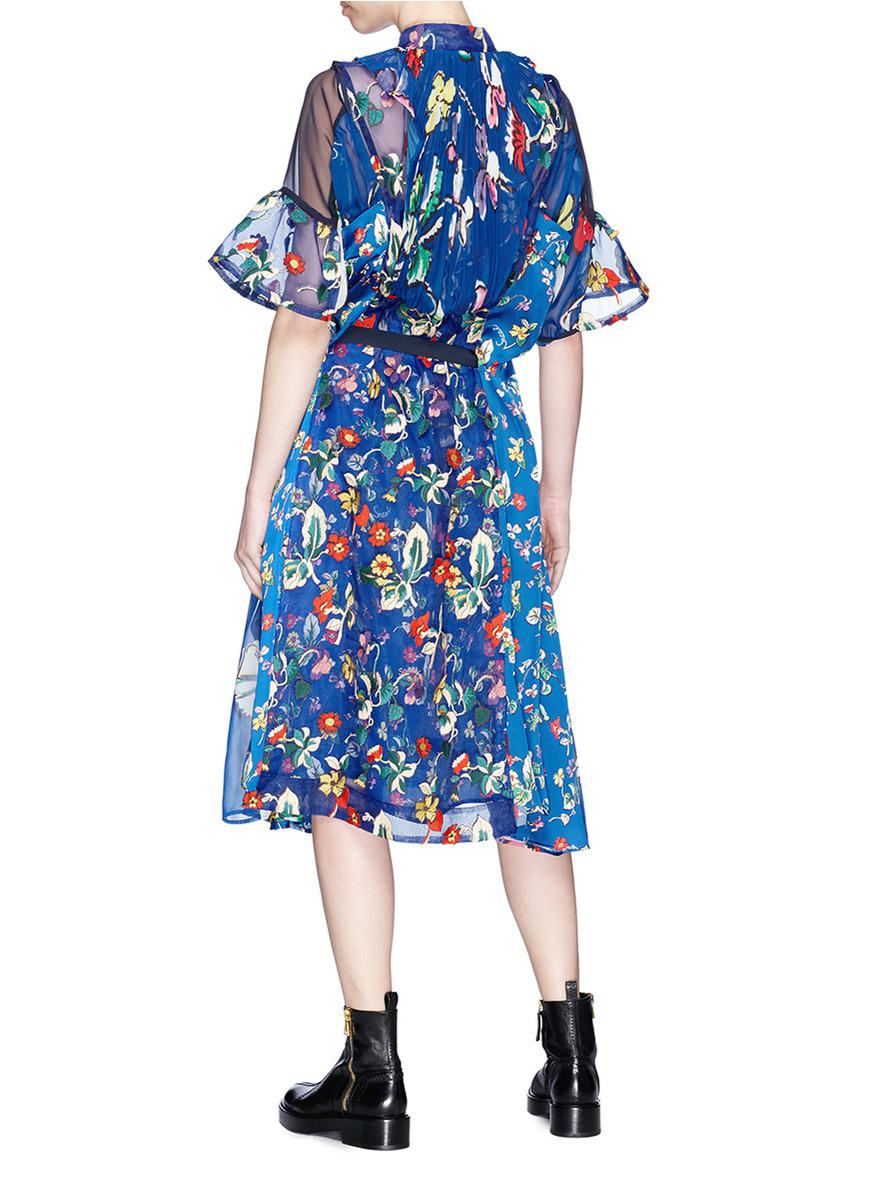 belted floral print dress - Blue sacai