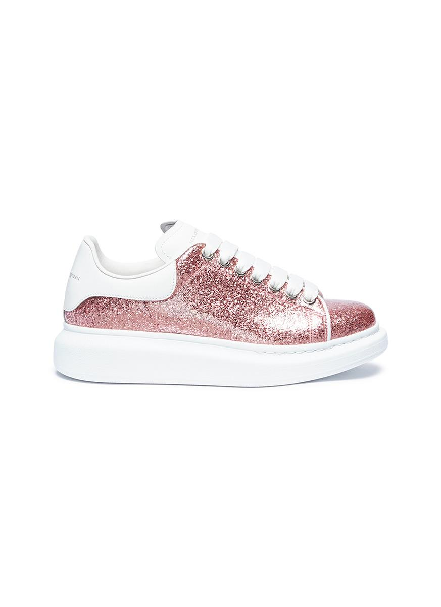 Alexander McQueen Rubber Glitter Lace-up Platform Sneakers ...