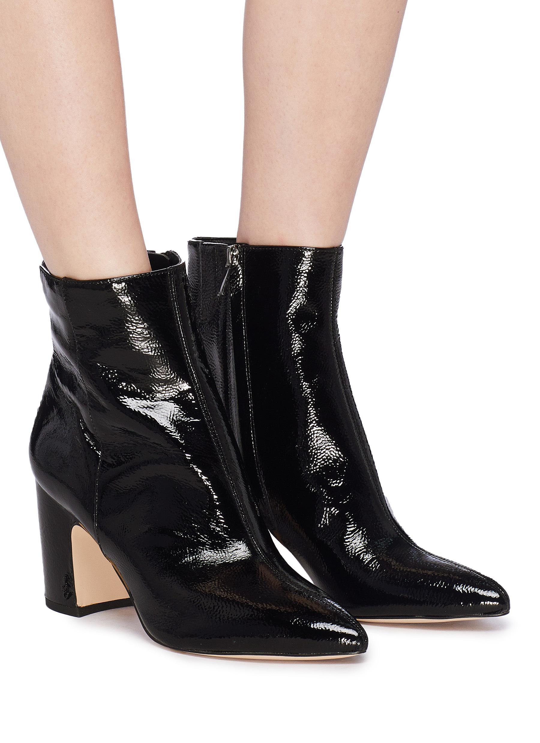 efd59868e45a Lyst - Sam Edelman  hilty  Crinkled Patent Leather Ankle Boots in Black