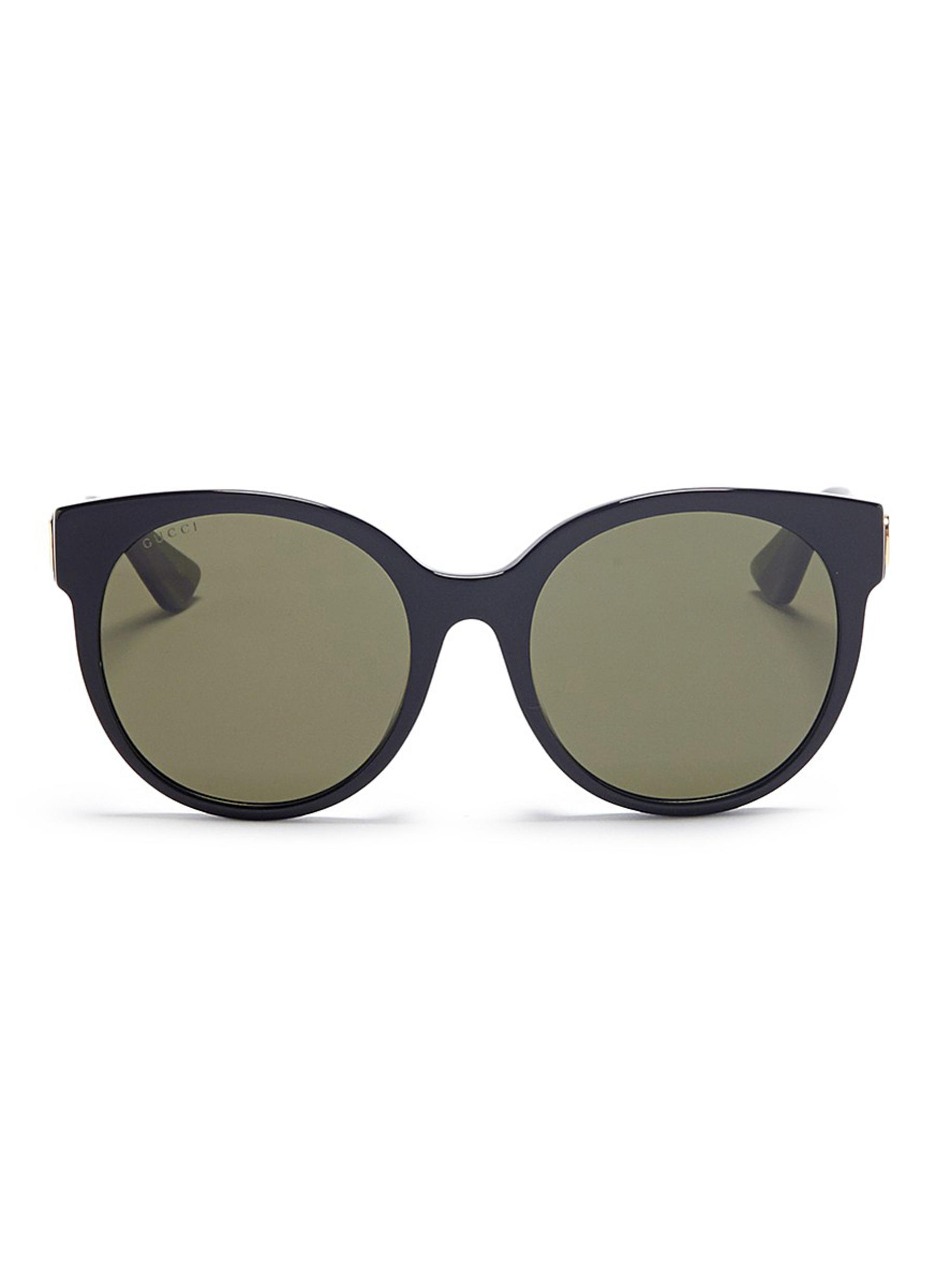 bc9acdefe63 Lyst - Gucci Glitter Web Stripe Temple Acetate Round Sunglasses for Men