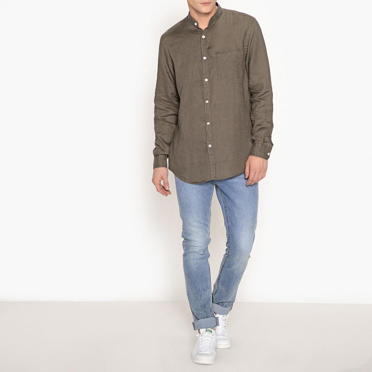 lyst la redoute chemise regular en lin col mao for men. Black Bedroom Furniture Sets. Home Design Ideas