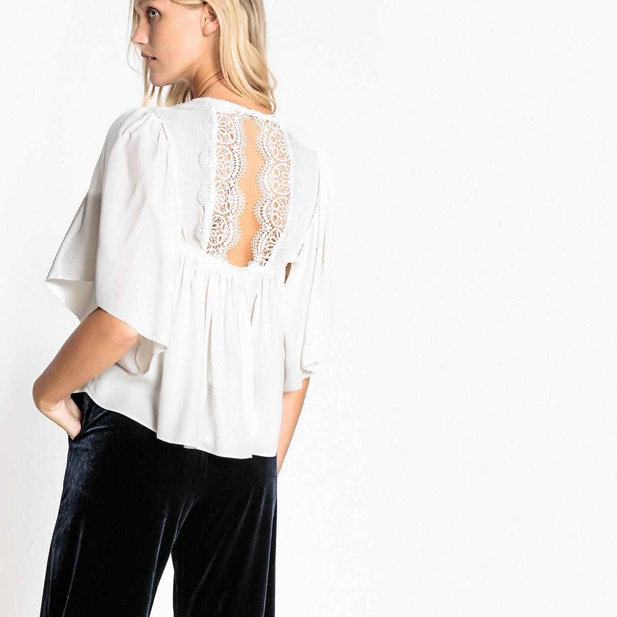 314e4ee3d67bd Lyst - Suncoo Loose-fit Blouse With Lace Detailed Back in White