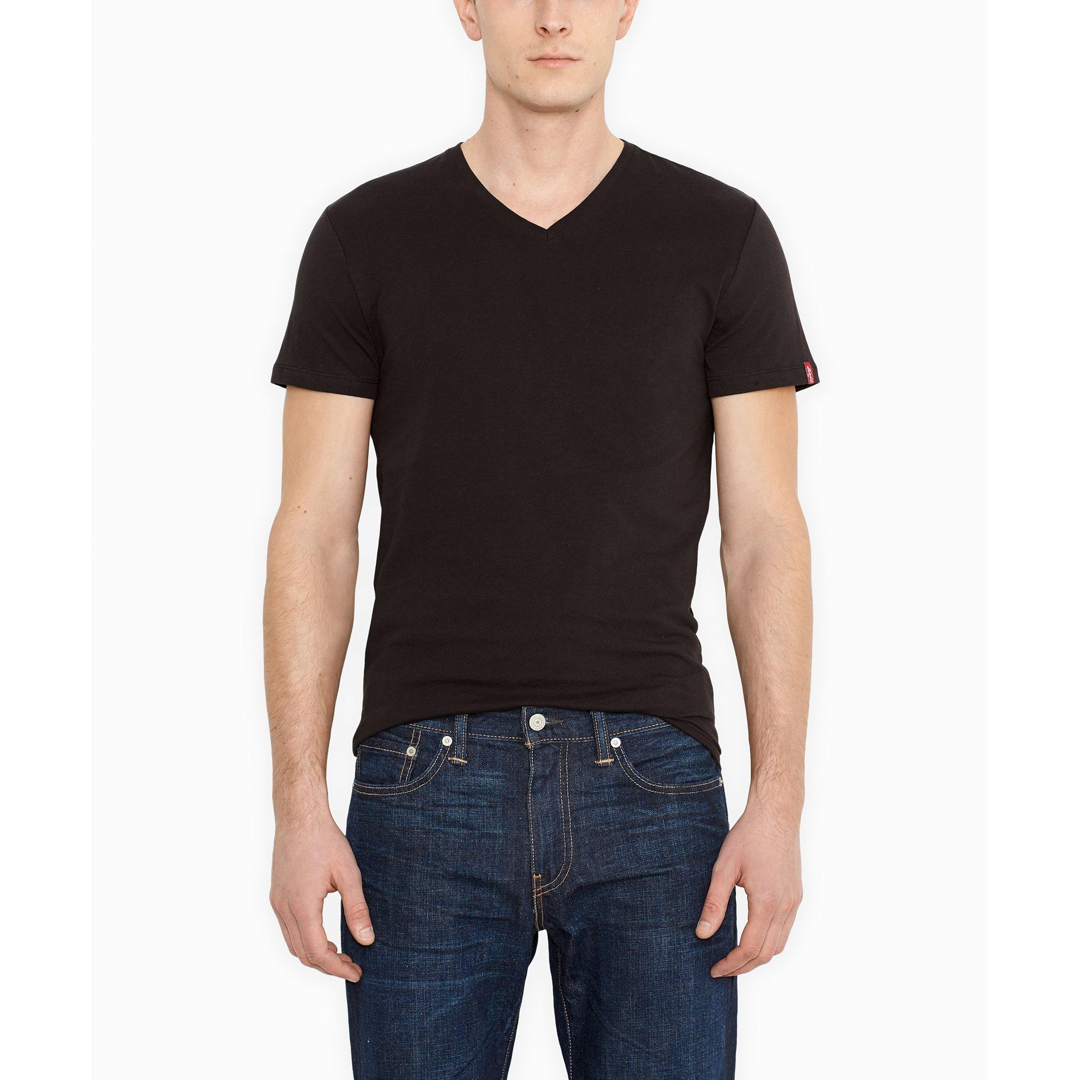 Levi 39 S Pack Of 2 Slim Fitted Cut V Neck T Shirts In Black